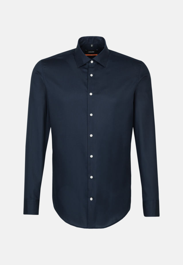 Easy-iron Structure Business Shirt in Slim with Kent-Collar in Dark blue |  Seidensticker Onlineshop