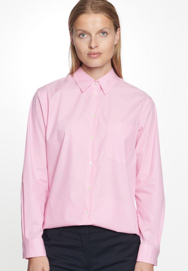 Popeline Hemdbluse aus 72% Baumwolle 24% Polyamid/Nylon 4% Elastan in weiß-pink |  Seidensticker Onlineshop