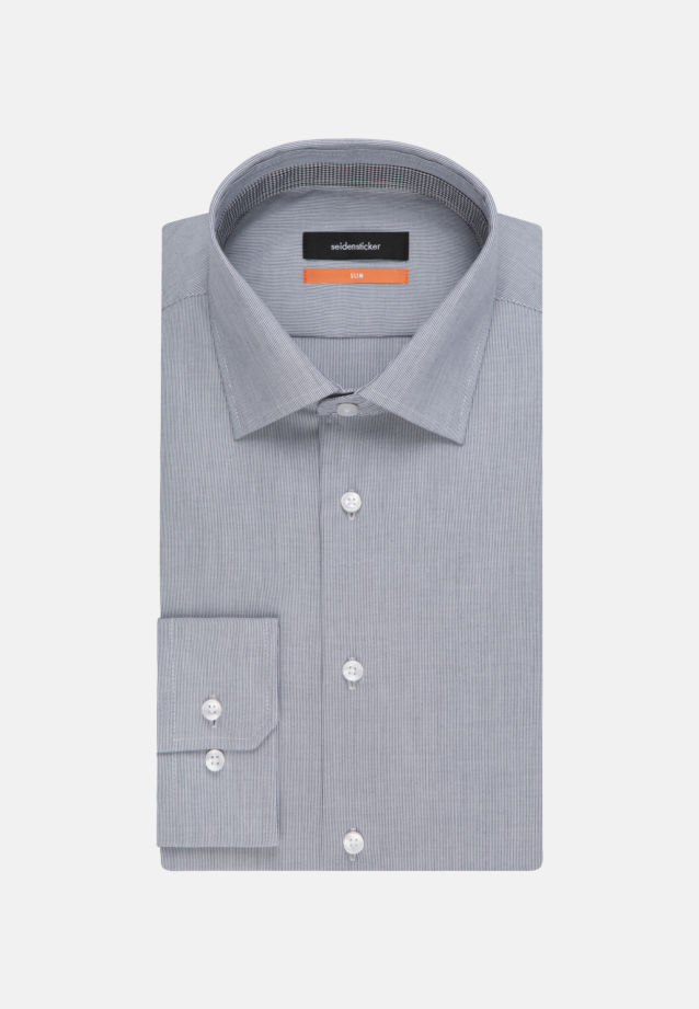 Non-iron Poplin Business Shirt in Slim with Kent-Collar and extra long arm in Dark blue |  Seidensticker Onlineshop