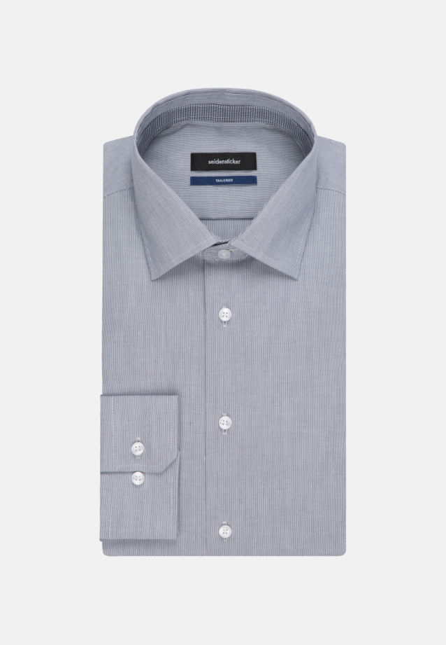 Non-iron Poplin Business Shirt in Tailored with Kent-Collar and extra long arm in Dark blue |  Seidensticker Onlineshop