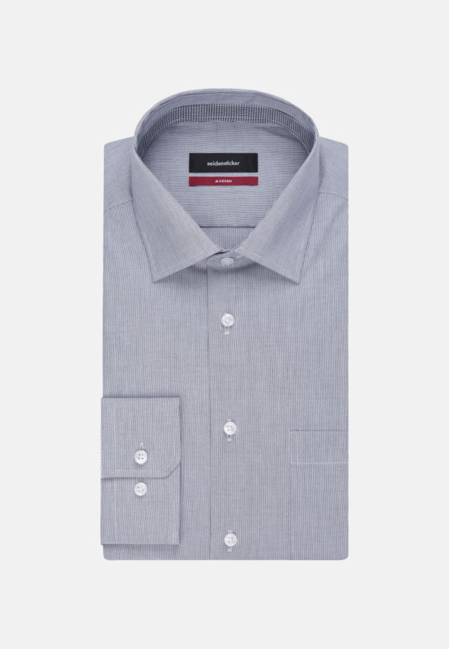 Non-iron Poplin Business Shirt in Regular with Kent-Collar and extra long arm in Dark blue |  Seidensticker Onlineshop
