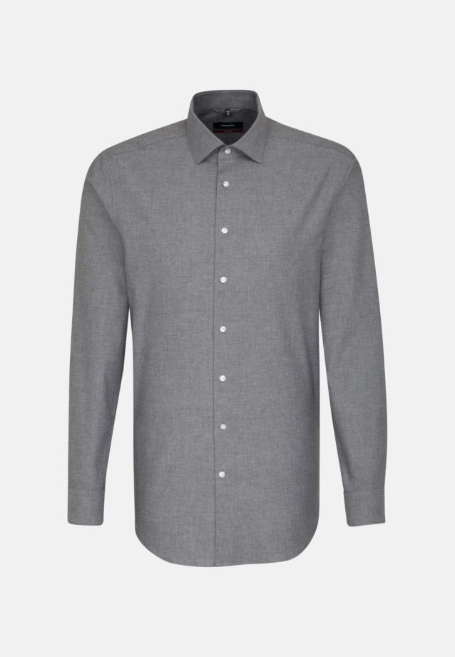 Easy-iron Structure Business Shirt in Regular with Kent-Collar in Grey |  Seidensticker Onlineshop