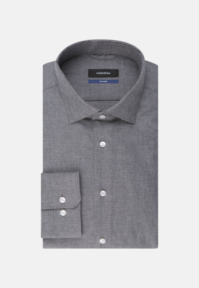 Easy-iron Structure Business Shirt in Shaped with Kent-Collar in Grey |  Seidensticker Onlineshop