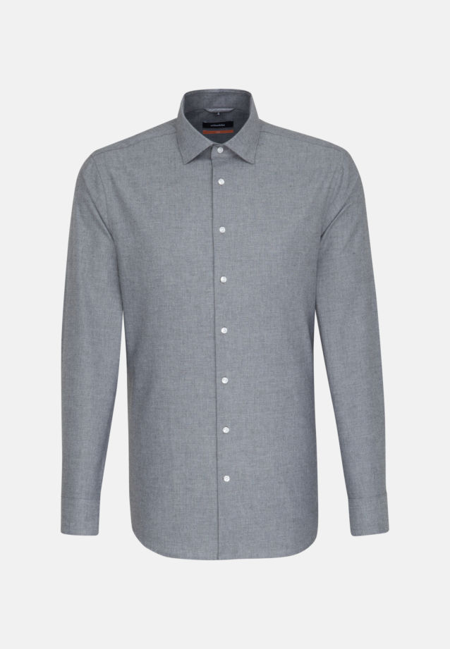 Easy-iron Structure Business Shirt in Slim with Kent-Collar in Grey |  Seidensticker Onlineshop