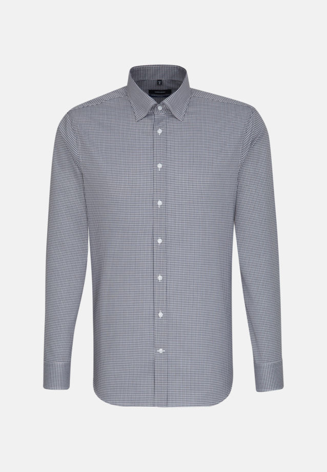 Non-iron Poplin Business Shirt in Shaped with Covered-Button-Down-Collar in Dark blue |  Seidensticker Onlineshop
