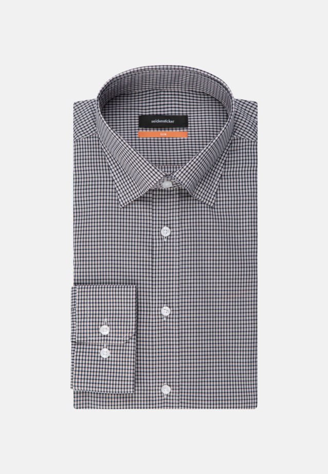 Non-iron Poplin Business Shirt in Slim with Covered-Button-Down-Collar in Dark blue |  Seidensticker Onlineshop