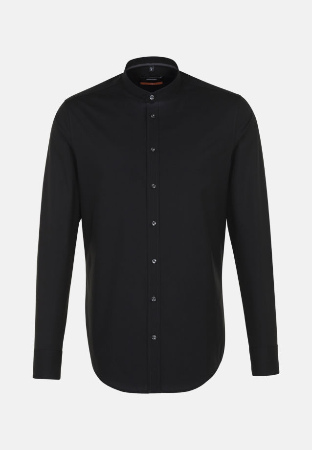 Non-iron Poplin Business Shirt in Slim with Stand-Up Collar in Black |  Seidensticker Onlineshop
