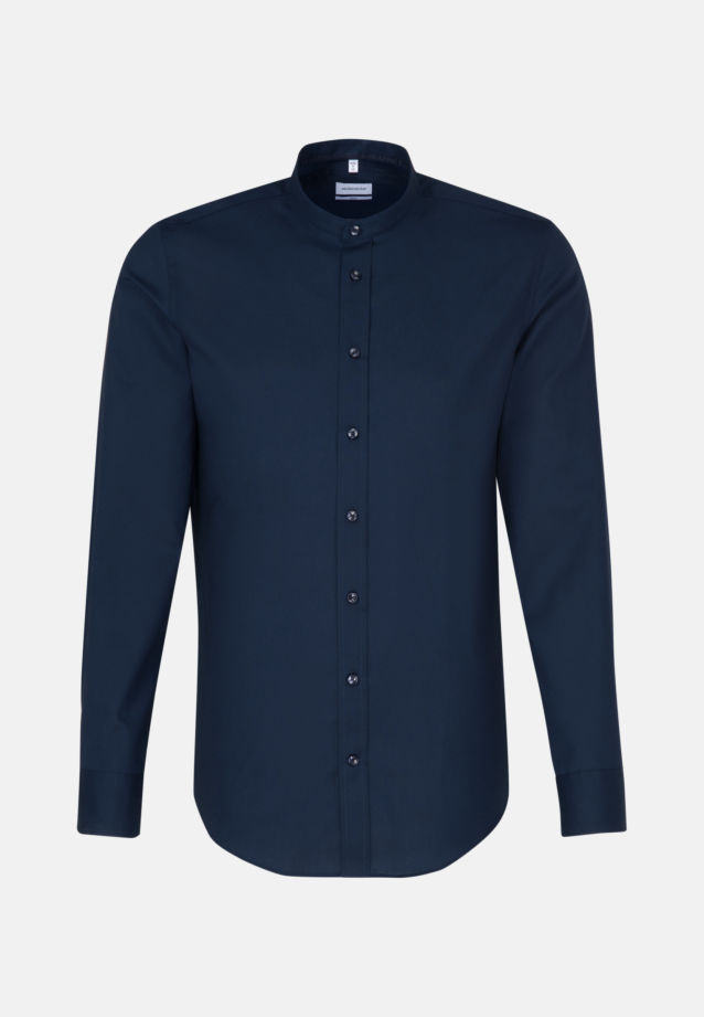 Non-iron Poplin Business Shirt in Slim with Stand-Up Collar in Dark blue |  Seidensticker Onlineshop
