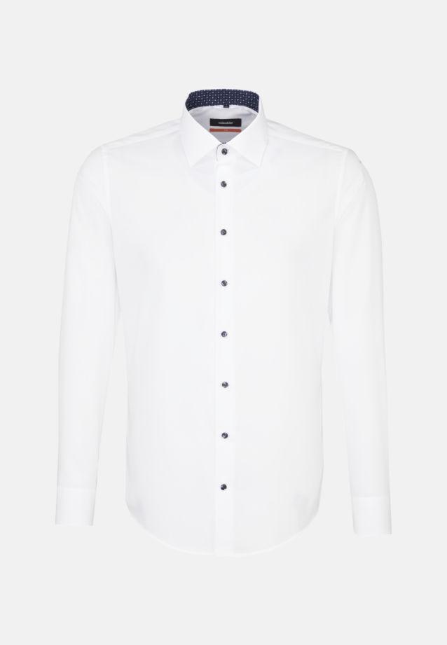 Non-iron Poplin Business Shirt in Slim with Kent-Collar in weiß    Seidensticker Onlineshop