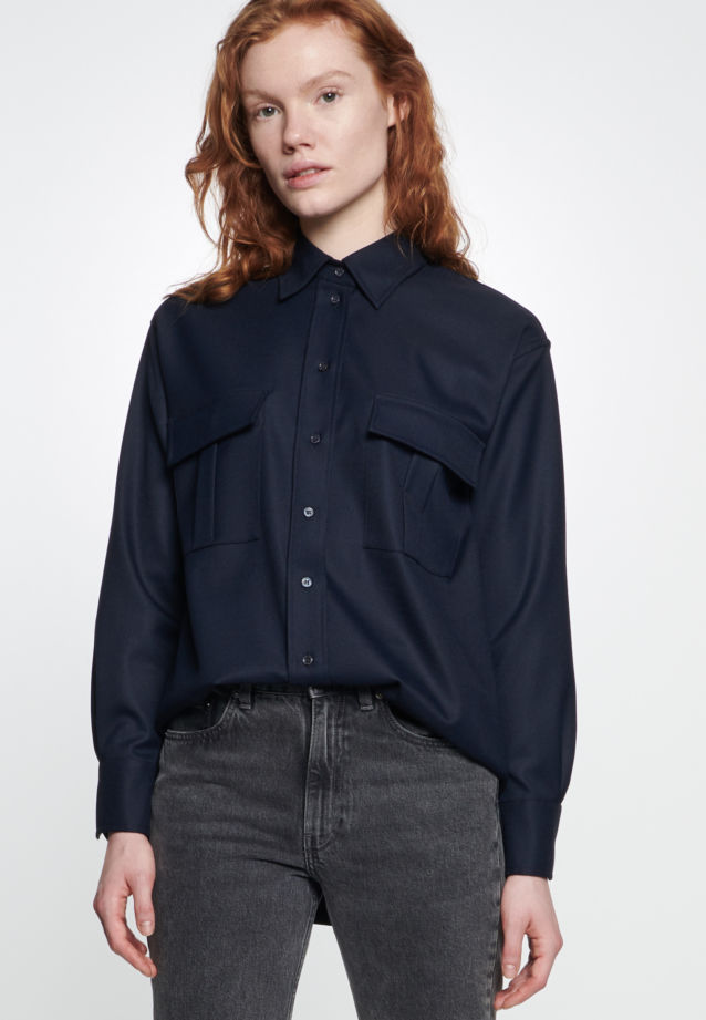 Twill Shirt Blouse made of 69% Polyester 30% Viskose 1% Elastane in Dark blue |  Seidensticker Onlineshop