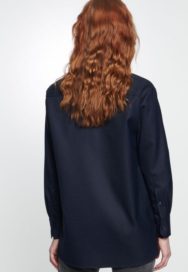 Twill Hemdbluse aus 69% Polyester 30% Viskose 1% Elastan in dunkelblau |  Seidensticker Onlineshop