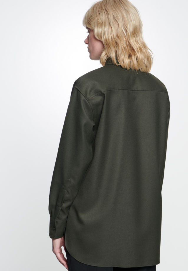 Twill Shirt Blouse made of viscose blend in Green |  Seidensticker Onlineshop