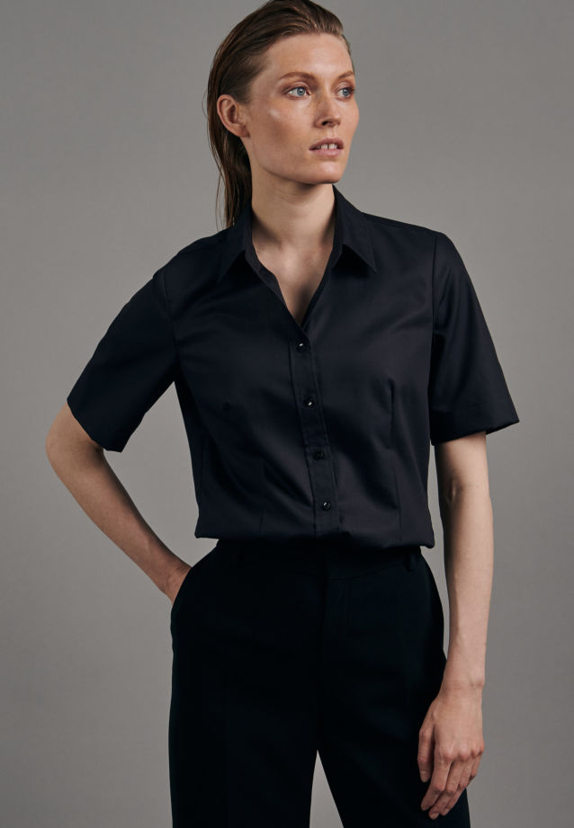 Non-iron Short sleeve Fil a fil Shirt Blouse made of 100% Cotton in Black |  Seidensticker Onlineshop