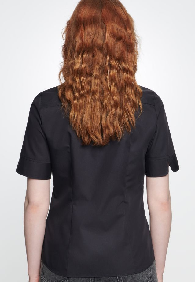 Non-iron Short arm Fil a fil Shirt Blouse made of 100% Cotton in Black |  Seidensticker Onlineshop
