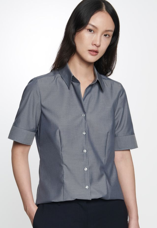 Non-iron Short arm Fil a fil Shirt Blouse made of 100% Cotton in Grey |  Seidensticker Onlineshop