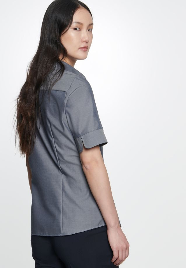 Non-iron Short sleeve Fil a fil Shirt Blouse made of 100% Cotton in Grey |  Seidensticker Onlineshop
