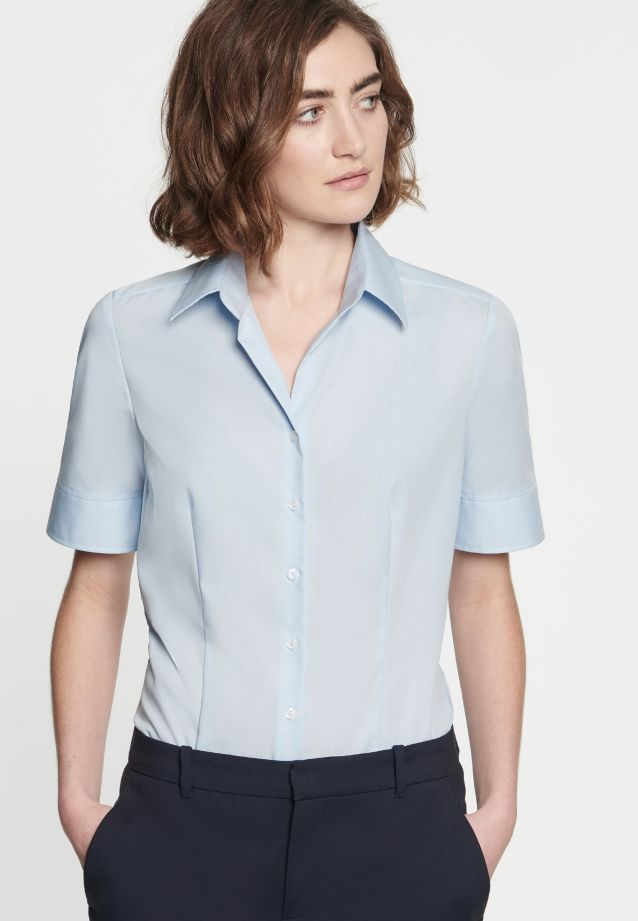 Non-iron Short arm Fil a fil Shirt Blouse made of 100% Cotton in Light blue |  Seidensticker Onlineshop