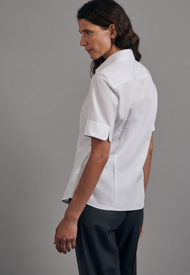 Non-iron Short sleeve Fil a fil Shirt Blouse made of 100% Cotton in White |  Seidensticker Onlineshop