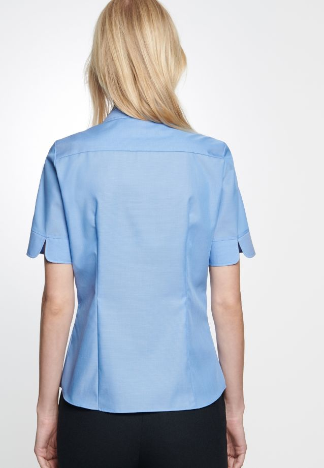 Bügelfreie Kurzarm Fil a fil Hemdbluse aus 100% Baumwolle in mittelblau |  Seidensticker Onlineshop