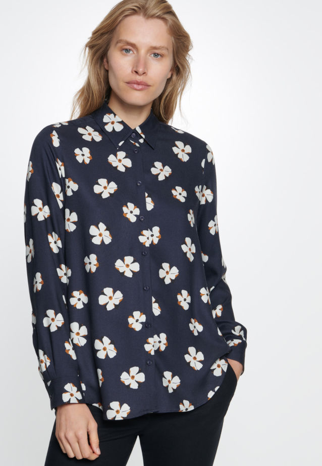 Twill Shirt Blouse made of 100% Viskose in Dark blue |  Seidensticker Onlineshop
