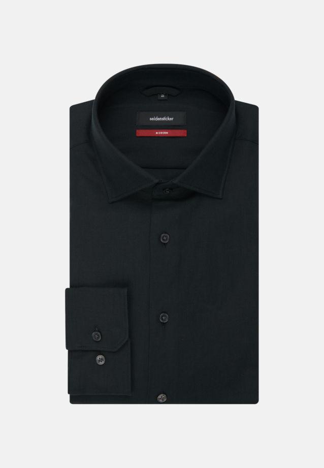 Bügelleichtes Twill Business Hemd in Modern mit Kentkragen in schwarz |  Seidensticker Onlineshop