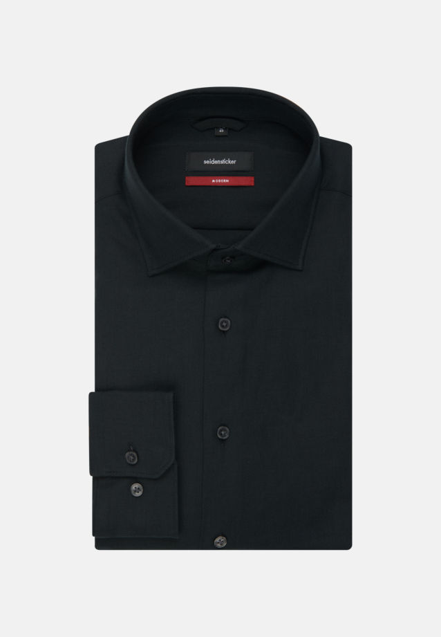 Easy-iron Twill Business Shirt in Regular with Kent-Collar in Black |  Seidensticker Onlineshop