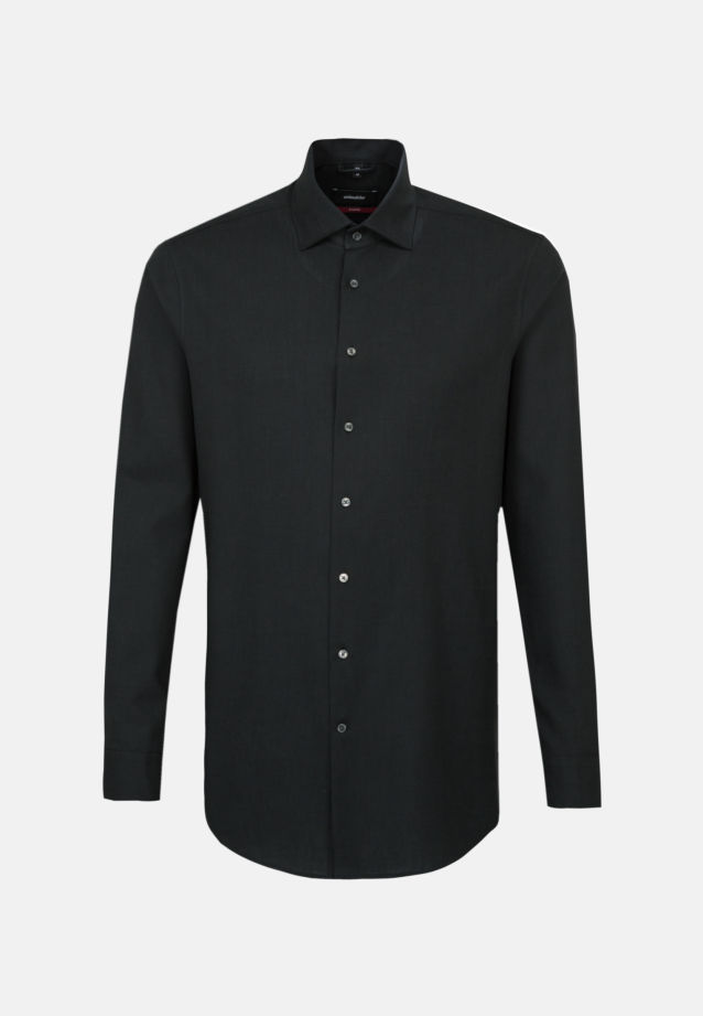 Easy-iron Twill Business Shirt in Modern with Kent-Collar in Black |  Seidensticker Onlineshop