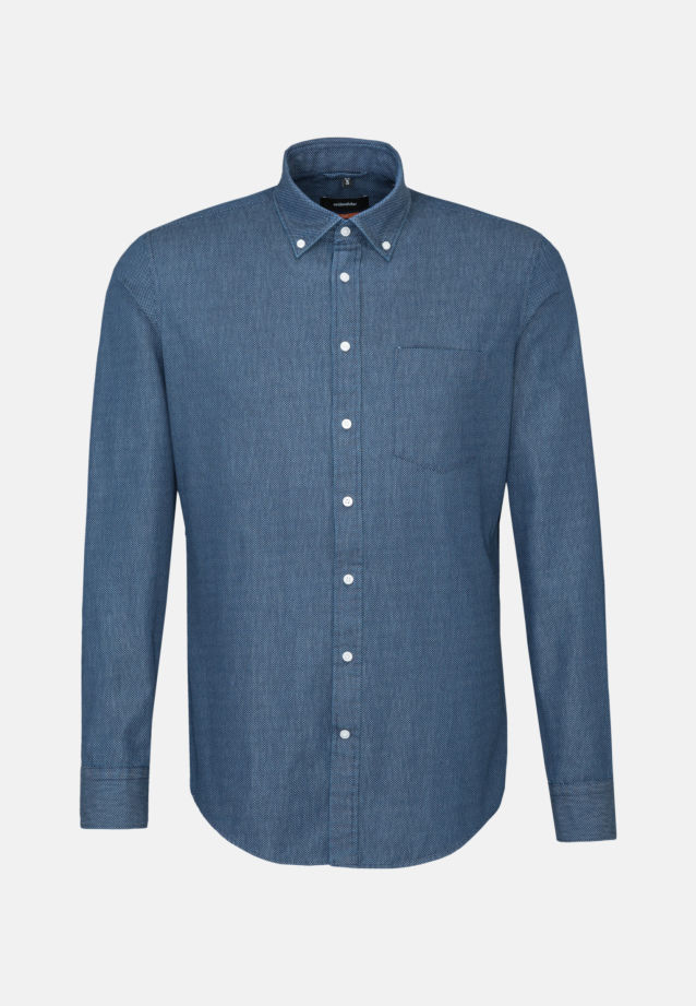 Bügelleichtes Twill Business Hemd in Slim mit Button-Down-Kragen in blau |  Seidensticker Onlineshop