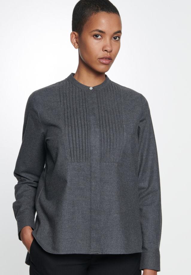 Flannel Stand-Up Blouse made of 100% Cotton in dunkelgrau    Seidensticker Onlineshop
