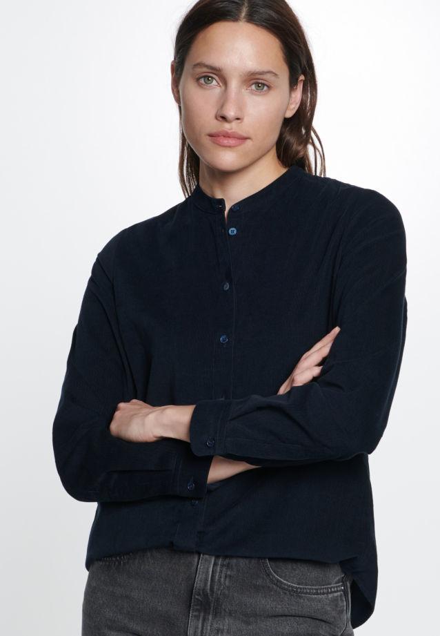 Corduroy Stand-Up Blouse made of 100% Cotton in Dark Sapphire |  Seidensticker Onlineshop