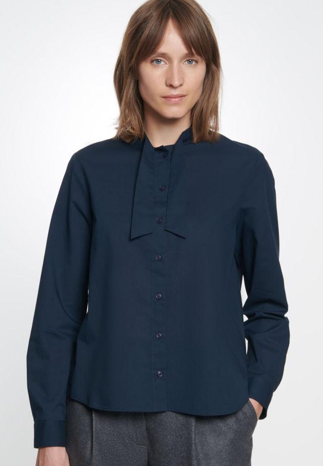Voile Tie-Neck Blouse made of 100% Cotton in Dark Sapphire    Seidensticker Onlineshop