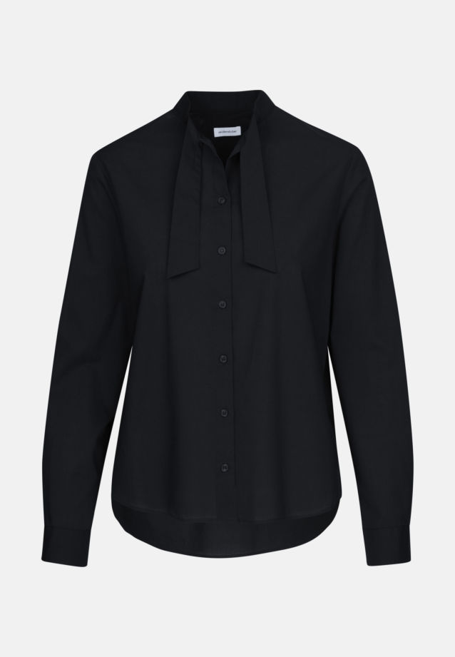 Voile Tie-Neck Blouse made of 100% Cotton in Moonless Night    Seidensticker Onlineshop