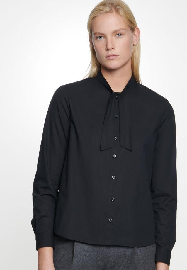 Voile Tie-Neck Blouse made of 100% Cotton in Black |  Seidensticker Onlineshop