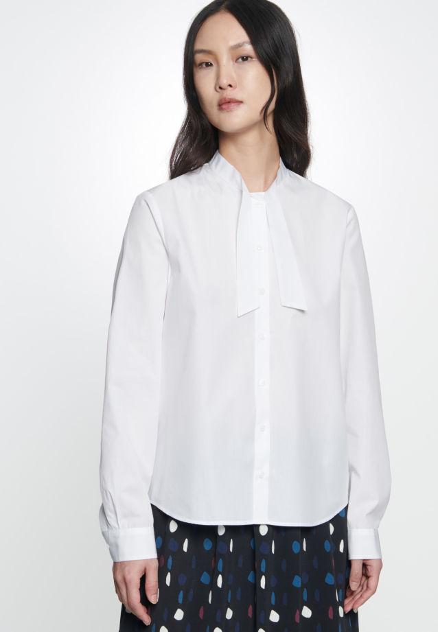 Voile Tie-Neck Blouse made of 100% Cotton in Optical White |  Seidensticker Onlineshop