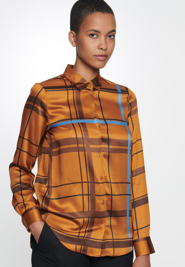 Satin Shirt Blouse made of 100% Viskose in Orange |  Seidensticker Onlineshop