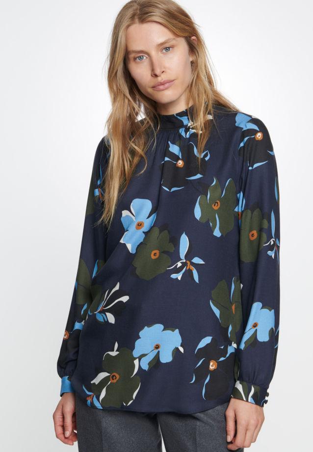 Twill Stehkragenbluse aus 100% Viskose in blau |  Seidensticker Onlineshop
