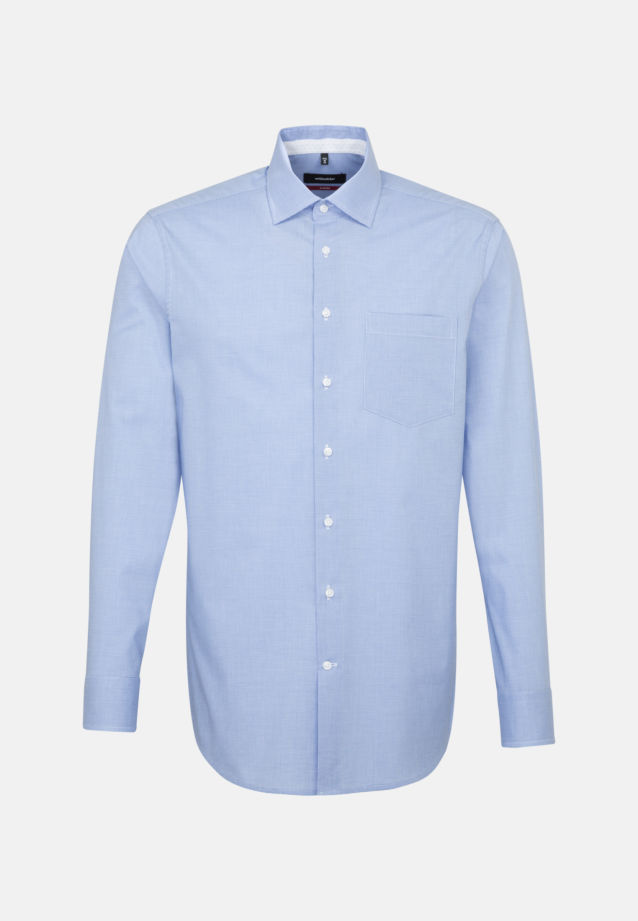 Non-iron Pepita/tooth-peg check Business Shirt in Regular with Kent-Collar in Light blue |  Seidensticker Onlineshop