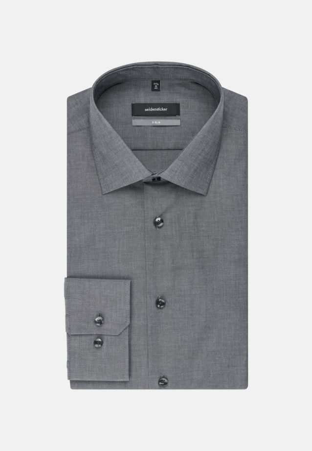 Non-iron Chambray Business Shirt in X-Slim with Kent-Collar and extra long arm in Black |  Seidensticker Onlineshop