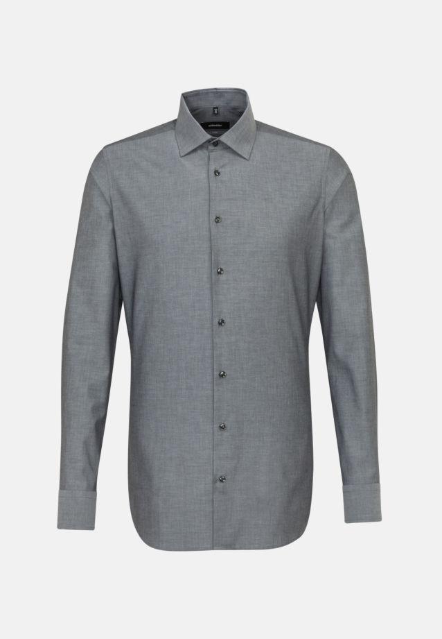 Bügelfreies Chambray Business Hemd in X-Slim mit Kentkragen und extra langem Arm in schwarz |  Seidensticker Onlineshop