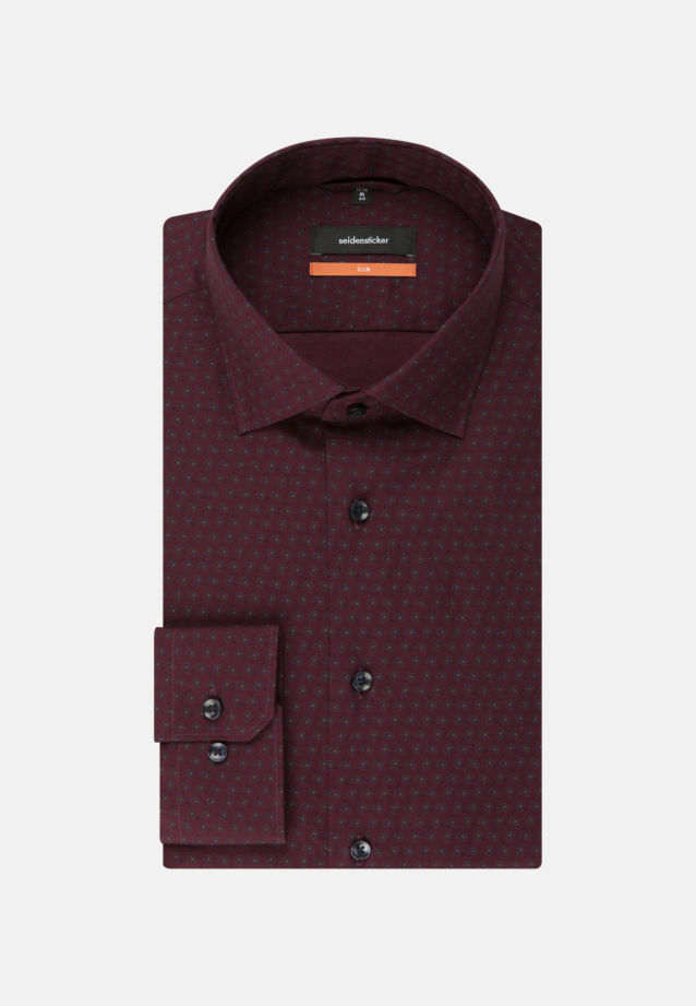 Easy-iron Twill Business Shirt in Slim with Kent-Collar in bordeaux |  Seidensticker Onlineshop