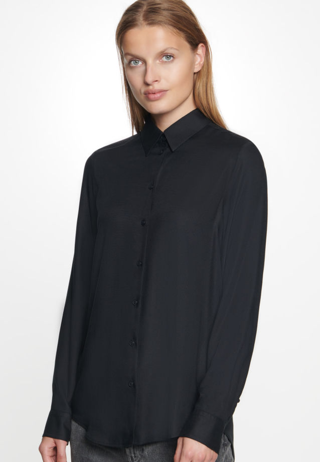 Twill Shirt Blouse made of 100% Viskose in Black |  Seidensticker Onlineshop