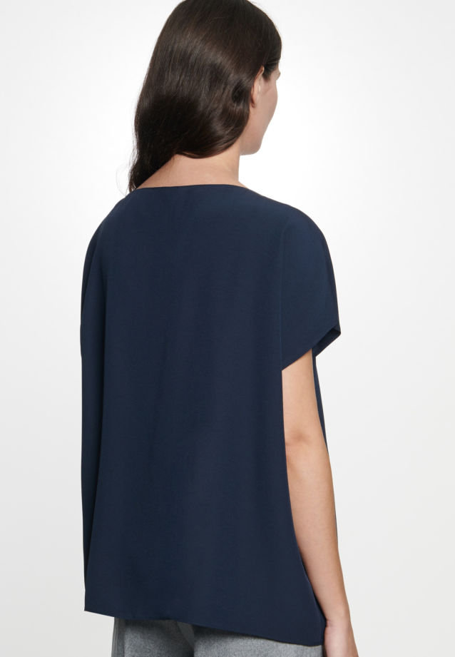 Short sleeve Crepe Shirt Blouse made of rayon blend in Dark blue |  Seidensticker Onlineshop