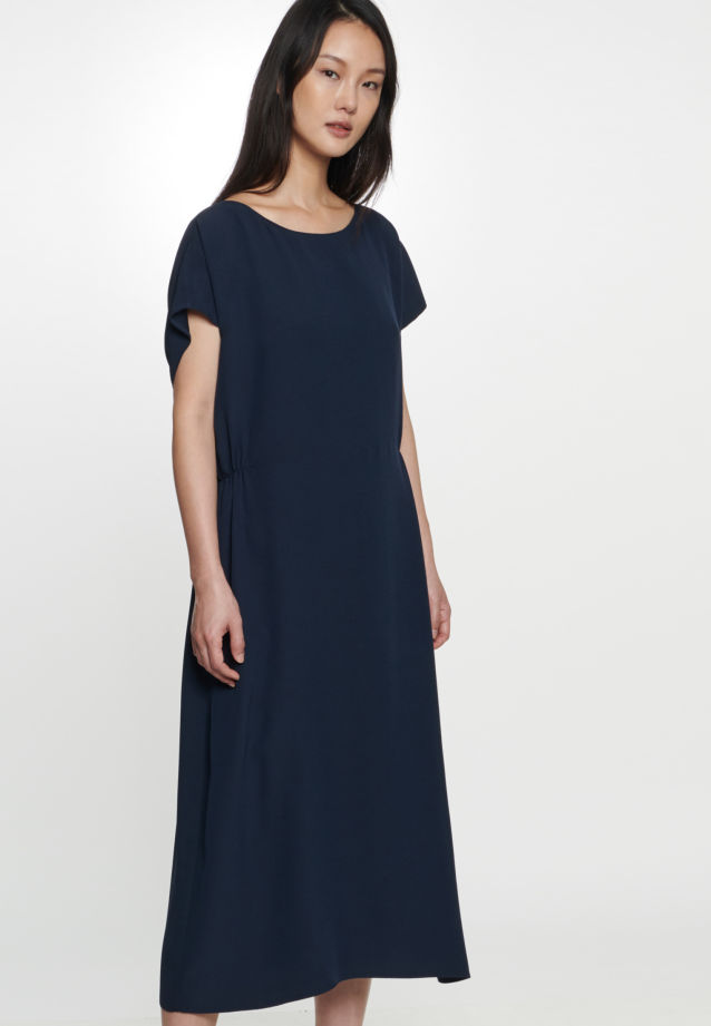 Sleeveless Crepe Dress made of 86% Rayon 14% Polyethylen in Dark blue |  Seidensticker Onlineshop