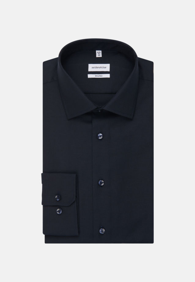 Non-iron Structure Business Shirt in Shaped with Kent-Collar in Dark blue |  Seidensticker Onlineshop
