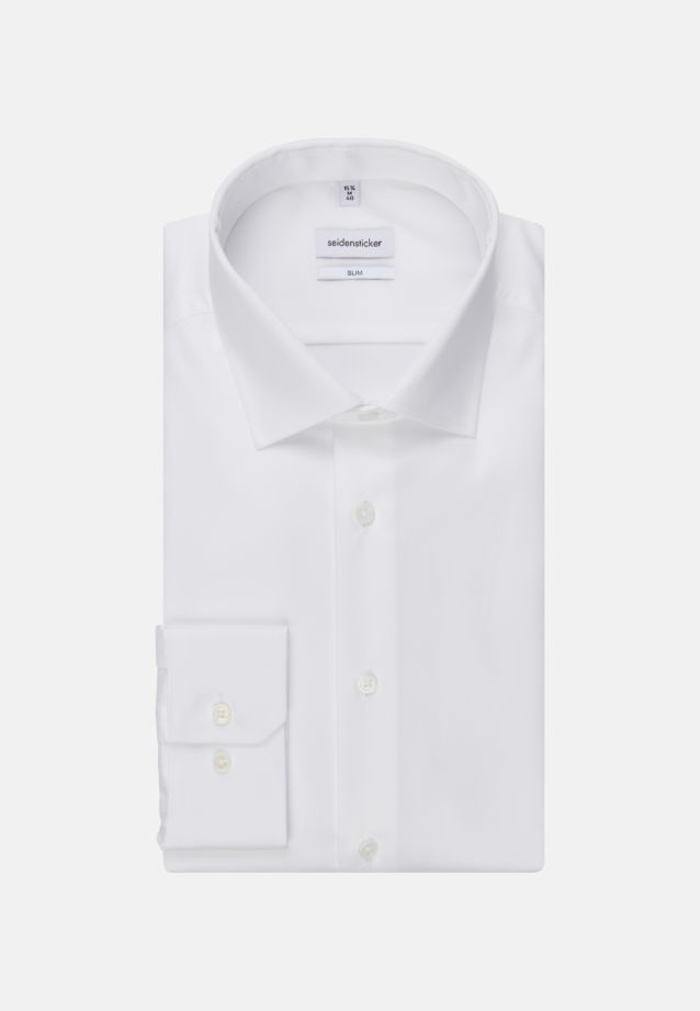 Easy-iron Twill Business Shirt in Slim with Kent-Collar in weiß |  Seidensticker Onlineshop