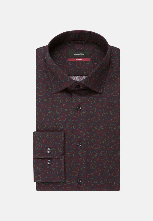 Easy-iron Twill Business Shirt in Modern with Kent-Collar in bordeaux |  Seidensticker Onlineshop