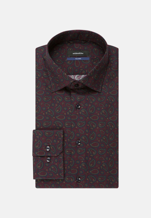 Easy-iron Twill Business Shirt in Tailored with Kent-Collar in bordeaux |  Seidensticker Onlineshop