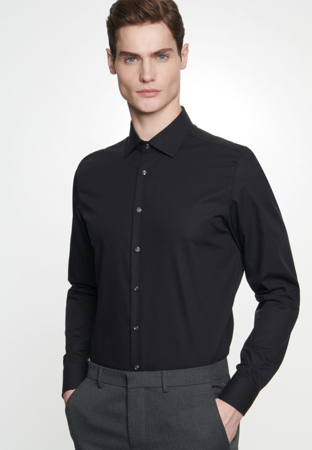 Non-iron Poplin Business Shirt in X-Slim with Kent-Collar in Black |  Seidensticker Onlineshop