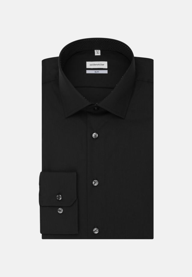 Non-iron Poplin Business Shirt in Slim with Kent-Collar in schwarz |  Seidensticker Onlineshop