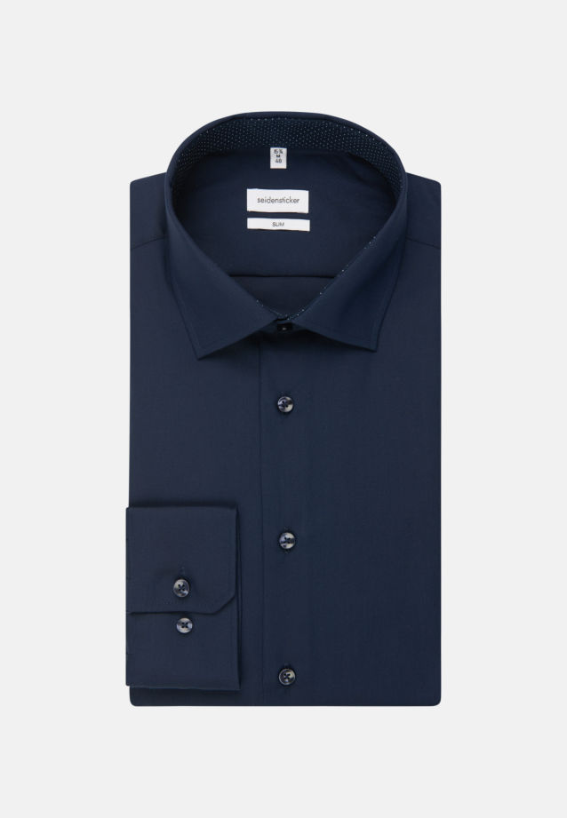 Non-iron Poplin Business Shirt in Slim with Kent-Collar in dunkelblau |  Seidensticker Onlineshop